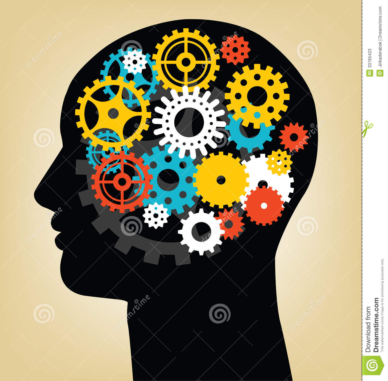 Abstract vector illustration of thinking man.
