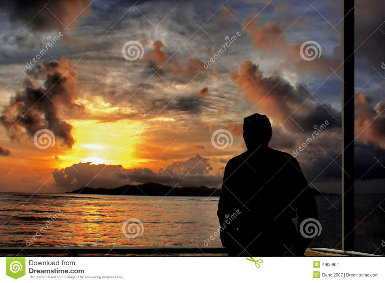 Thinking man on sea sunset.