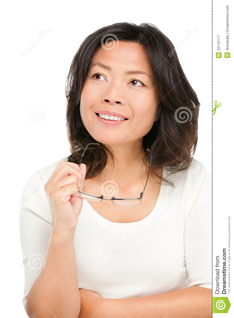 Thinking Middle Aged Asian Woman Stock Image - Image Of -7261