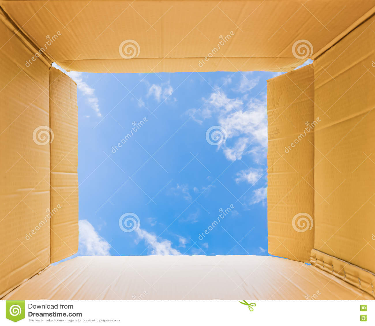 Thinking Outside The Open Box To Sky Stock Photo - Image of