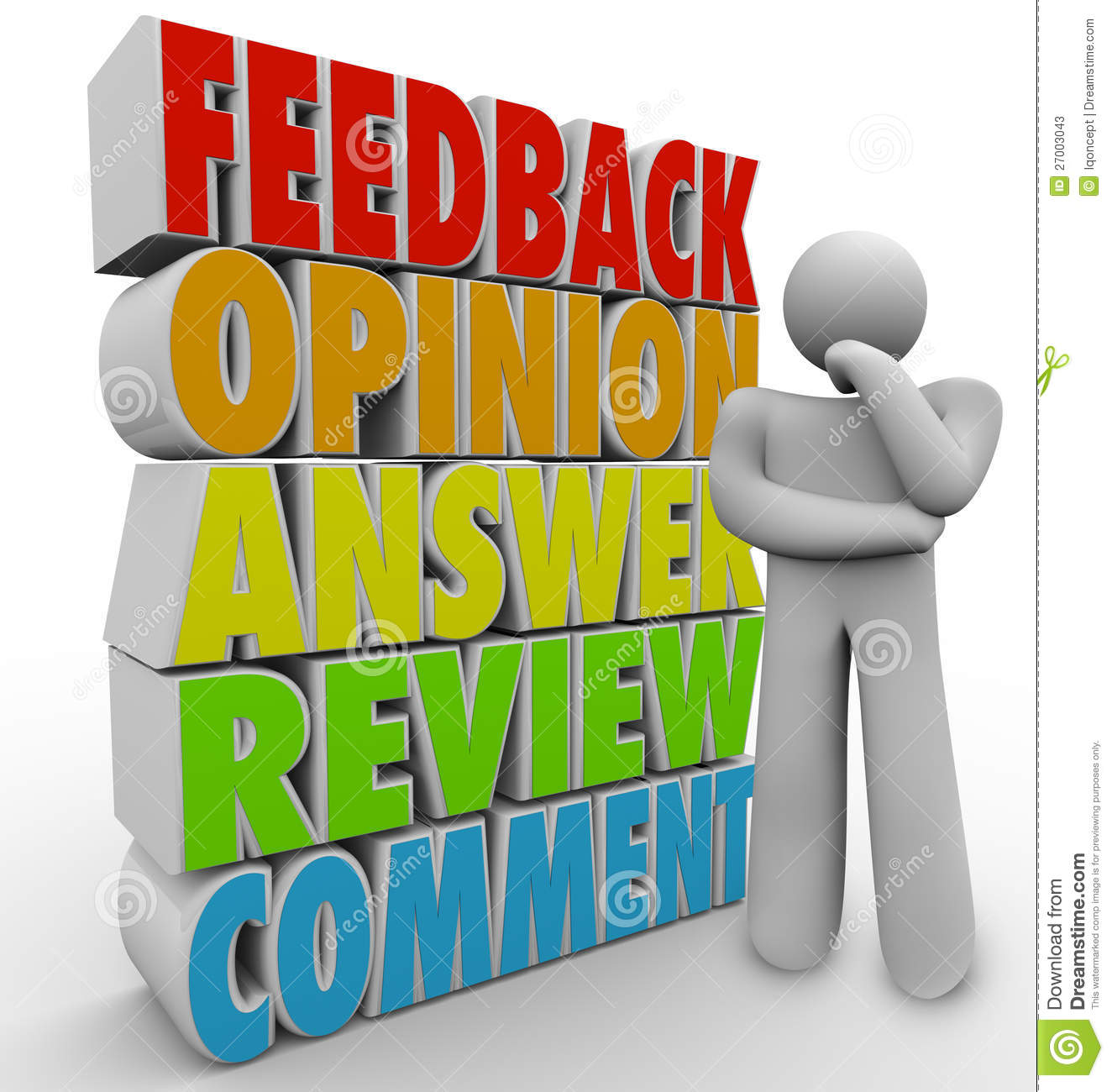 Comments: Thinking Person Feedback Comment Opinion Stock