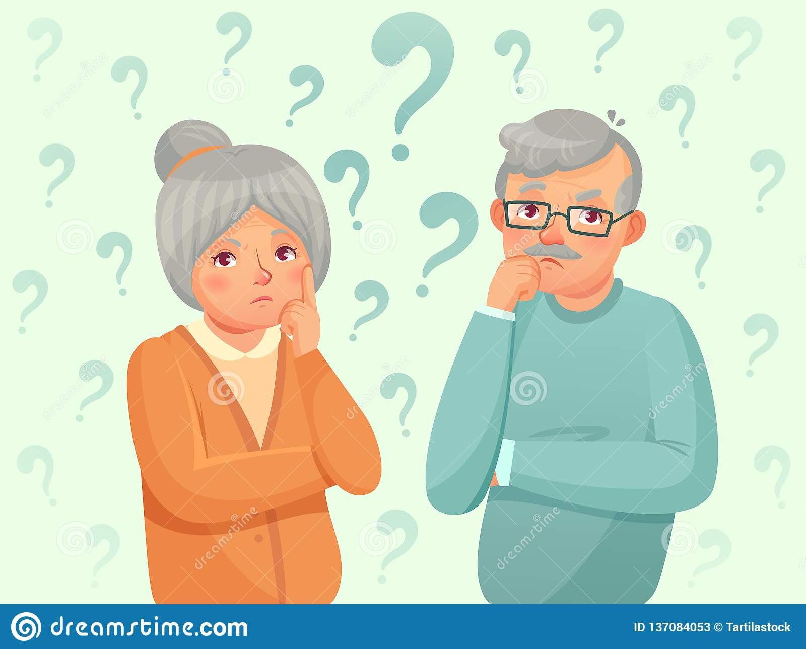 Thinking seniors couple. Confused elderly people. Grandfather, grandmother forget and trying remember cartoon vector