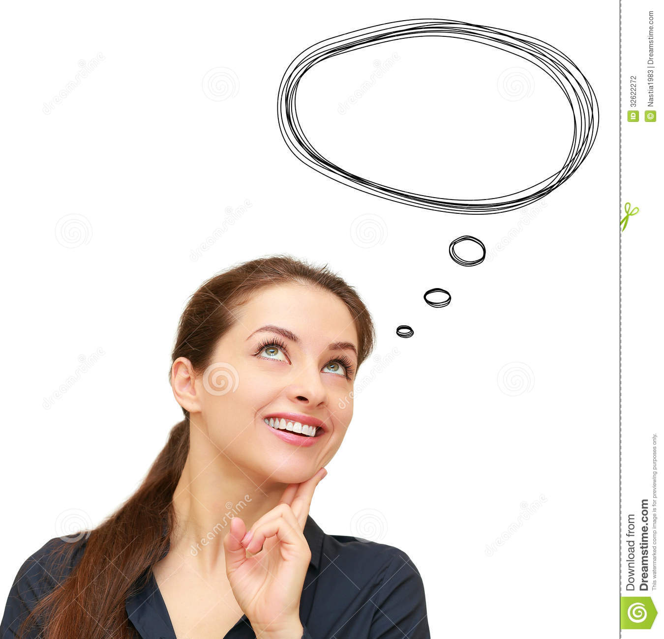 Thinking Woman With Bubble Speech Stock Photography - Image: 32622272