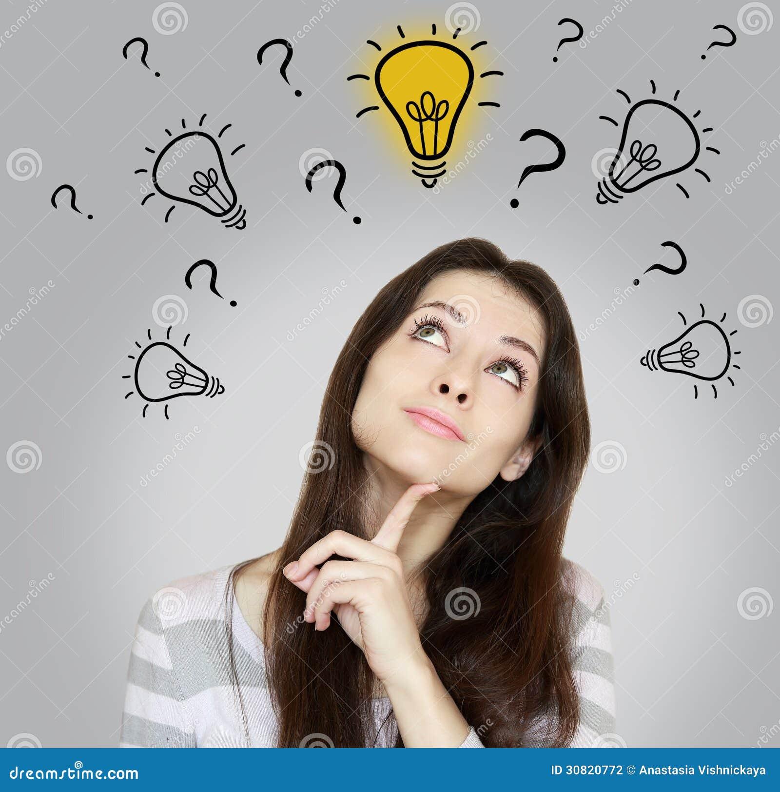 Thinking Woman Making Dicision Stock Photography Image