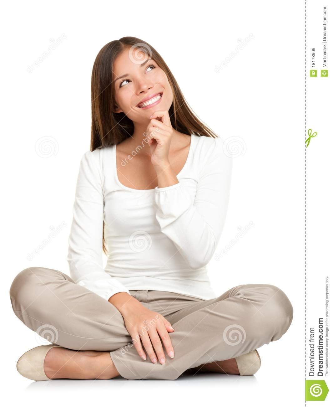 Thinking Woman Sitting Of Floor Isolated Royalty Free