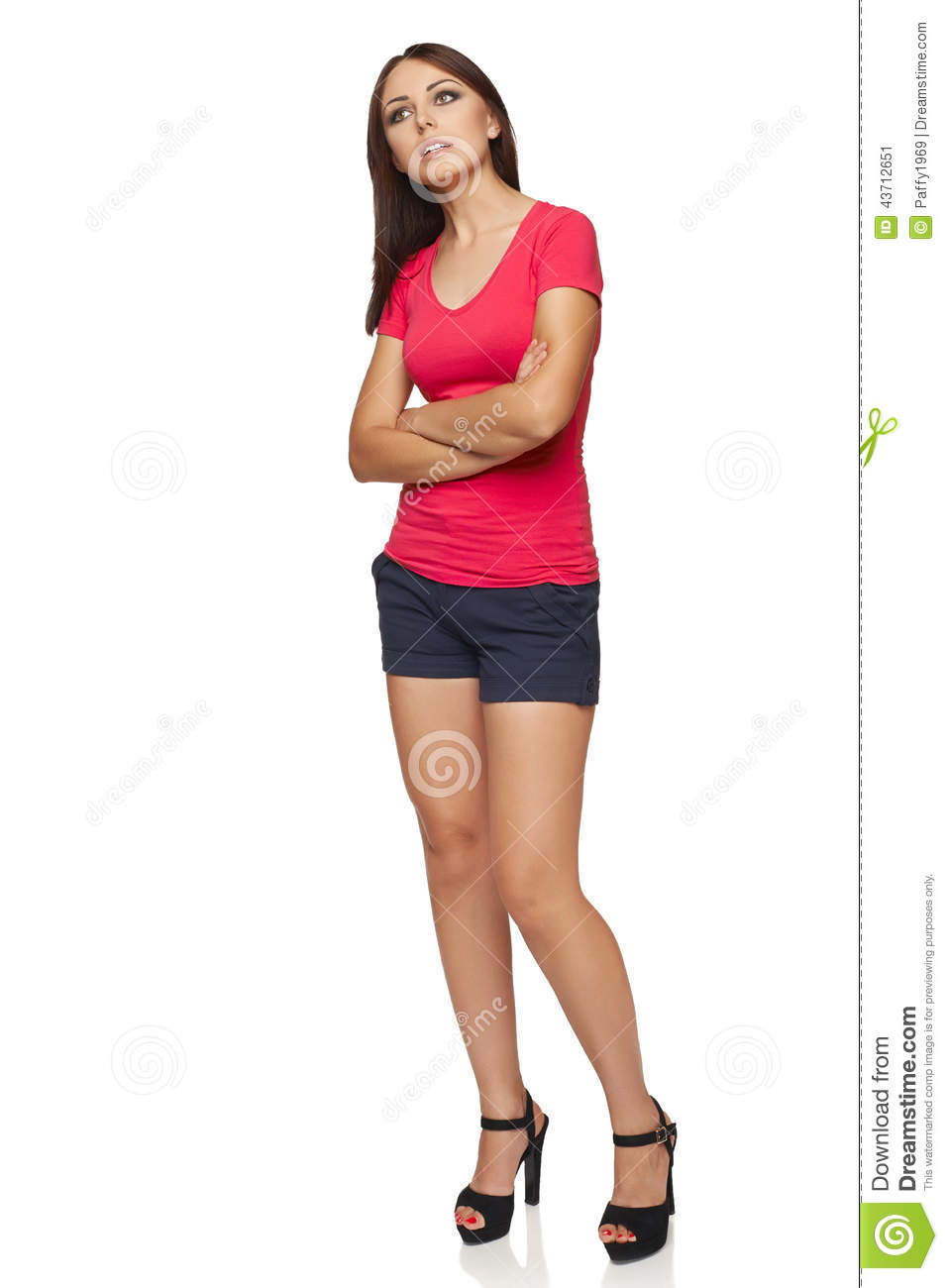 Thinking woman standing in full body isolated on white background    Woman Standing Side White Background