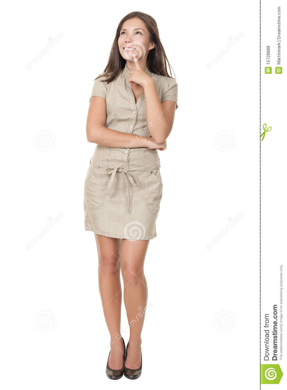 Thinking woman standing isolated