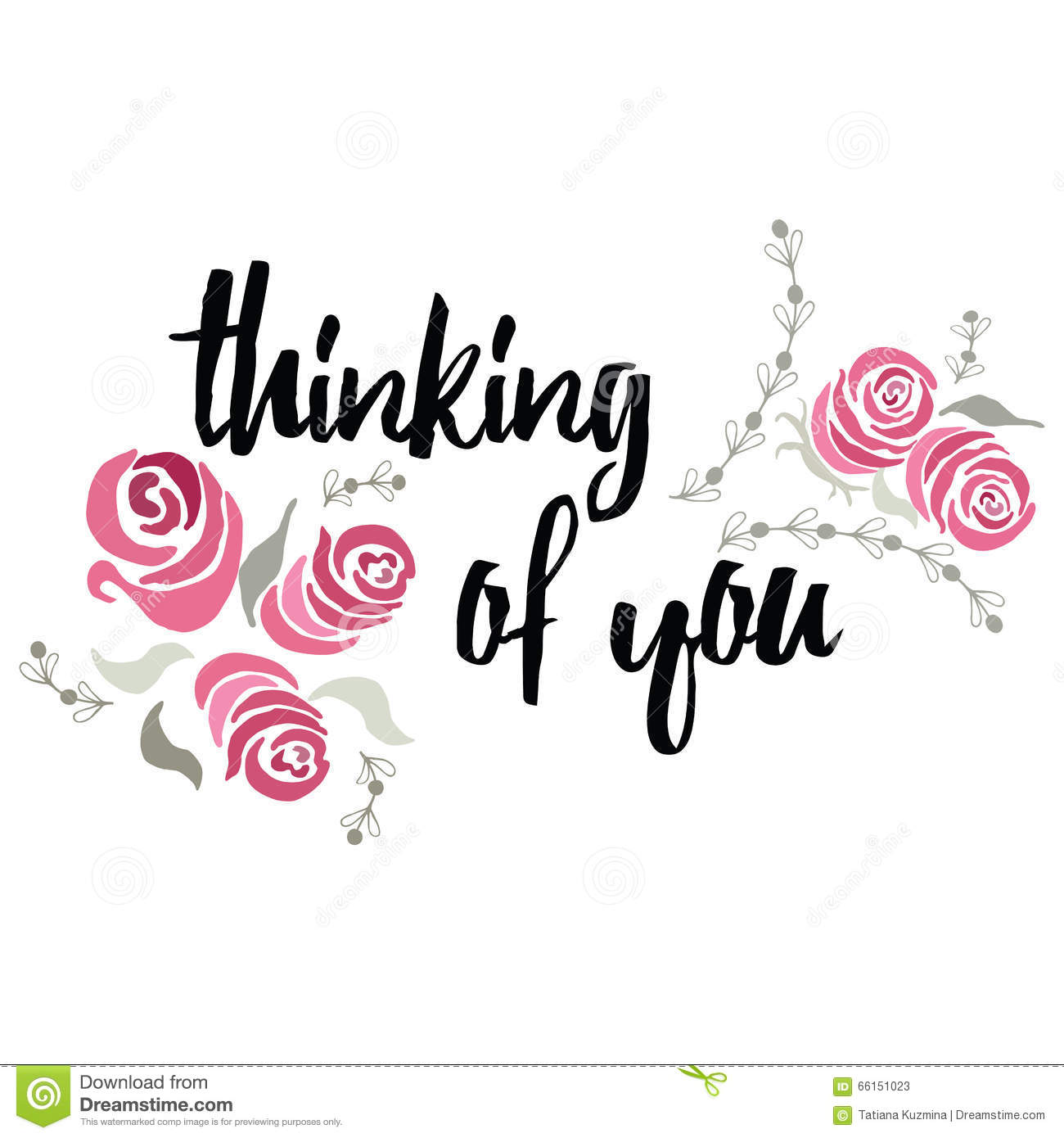 thinking of you typography lettering card with hand painted roses rh dreamstime com just thinking of you clipart thinking of you cards clipart