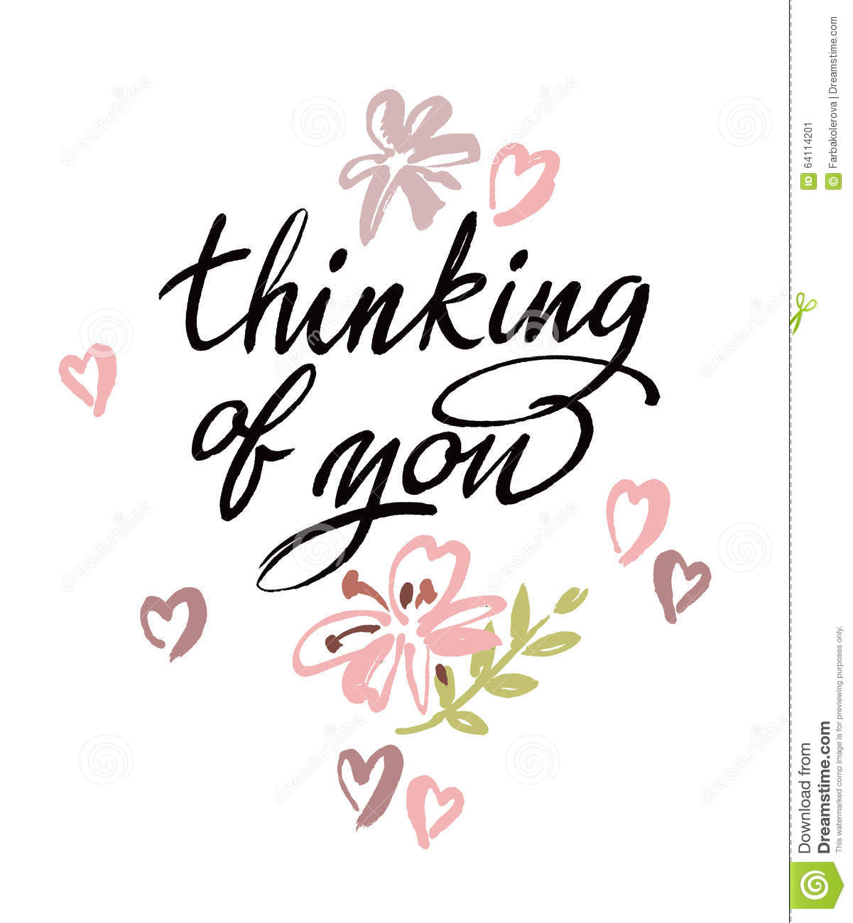 Thinking Of You. Vector Brush Calligraphy Stock Vector ...