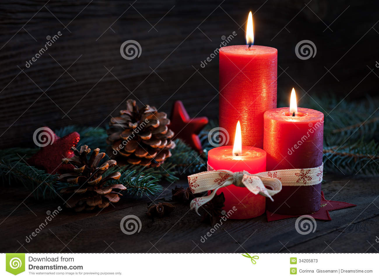 Third advent stock photos image 34205873 for Advent candle decoration