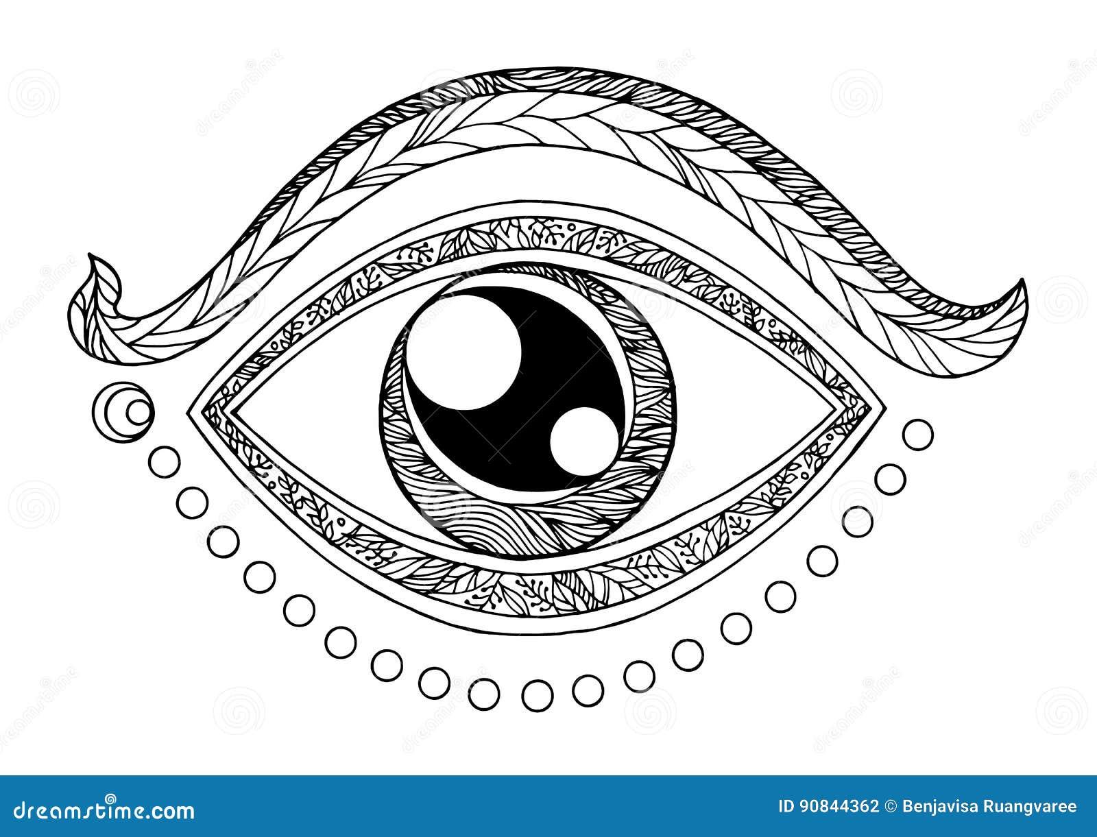 Third Eye Chakra Symbol Drawing Design Vector Illustration Stock