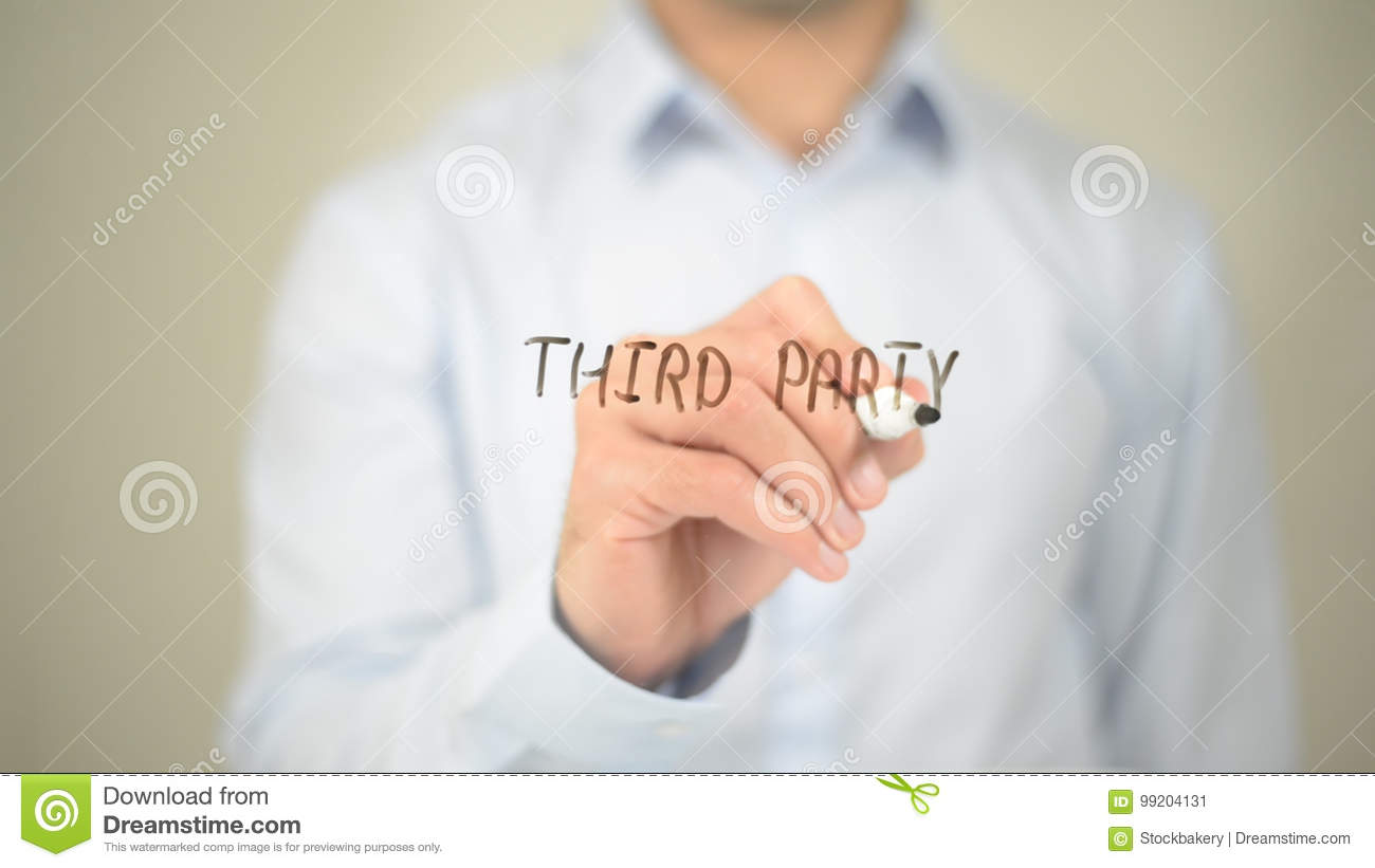 Third Party, Man Writing on Transparent Screen