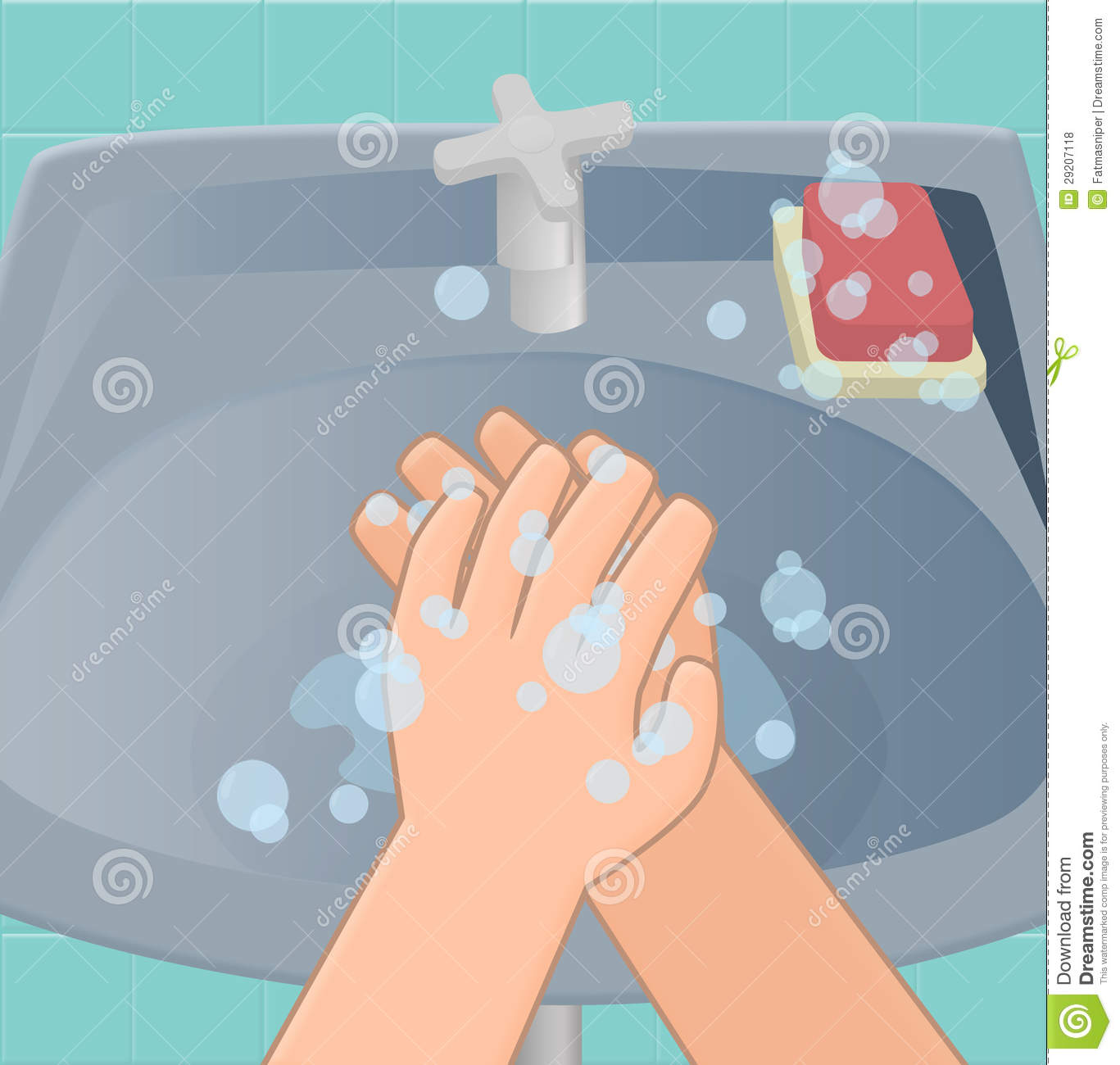 The third stage of washing hands