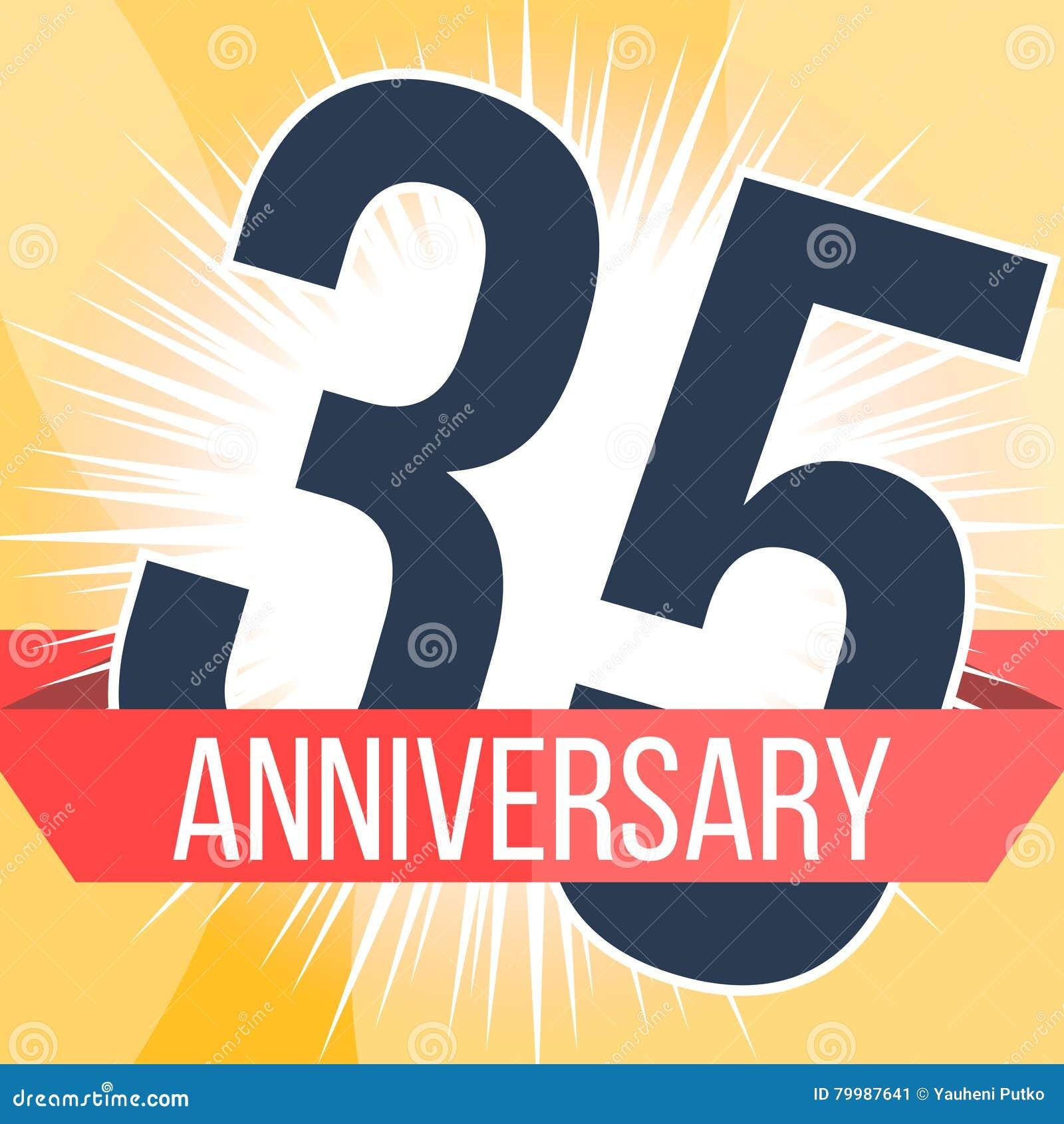 Thirty Five Years Anniversary Banner 35th Anniversary Logo Vector