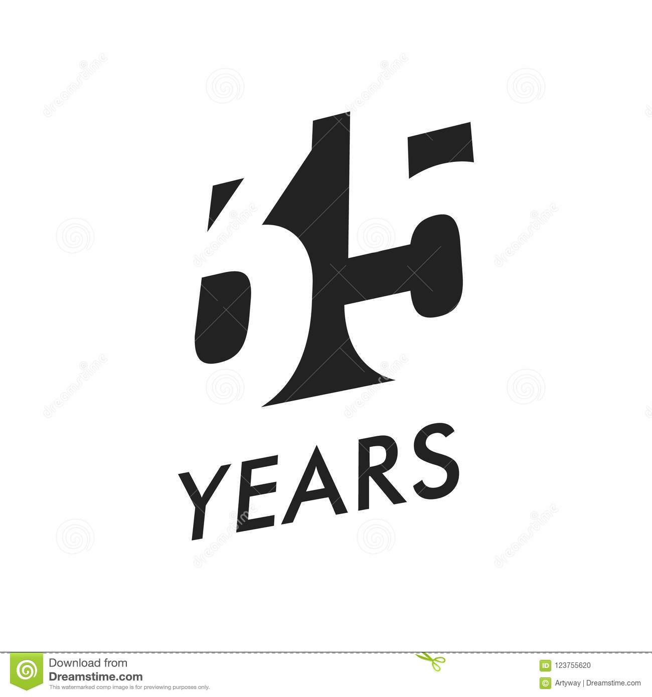 Thirty Five Years Vector Emblem Template Anniversary Symbol
