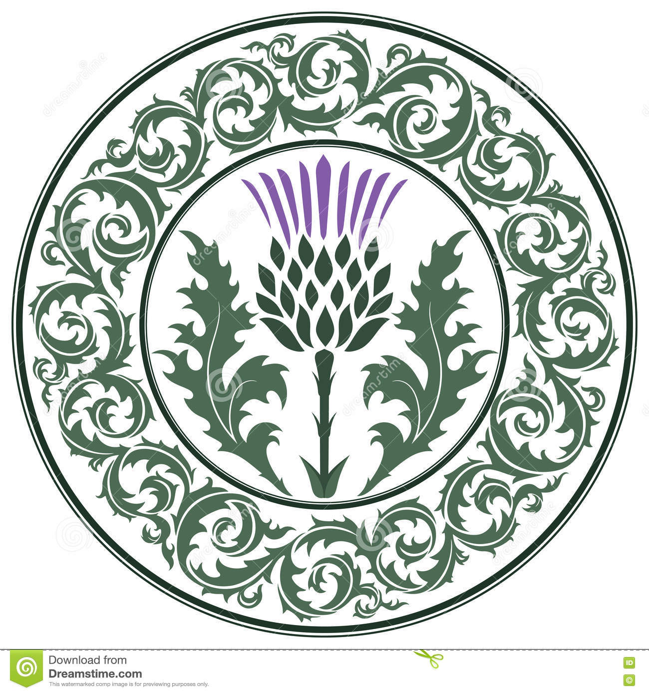 Thistle flower and ornament round leaf thistle the symbol of thistle flower and ornament round leaf thistle the symbol of scotland buycottarizona Image collections
