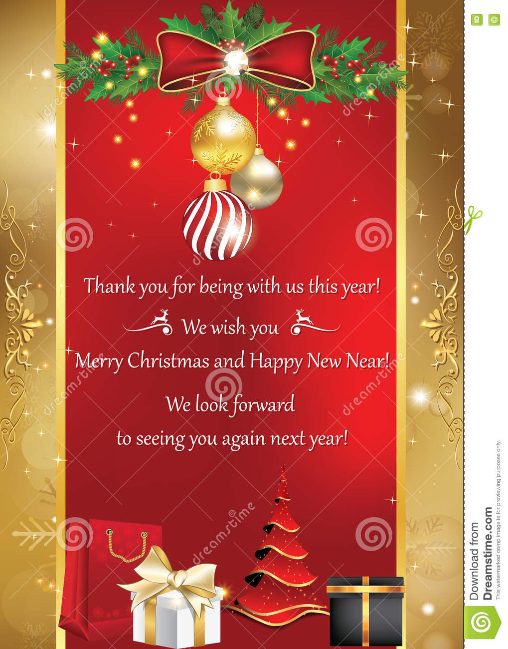 Thnak you business greeting card for winter holidays stock image royalty free stock photo kristyandbryce Image collections