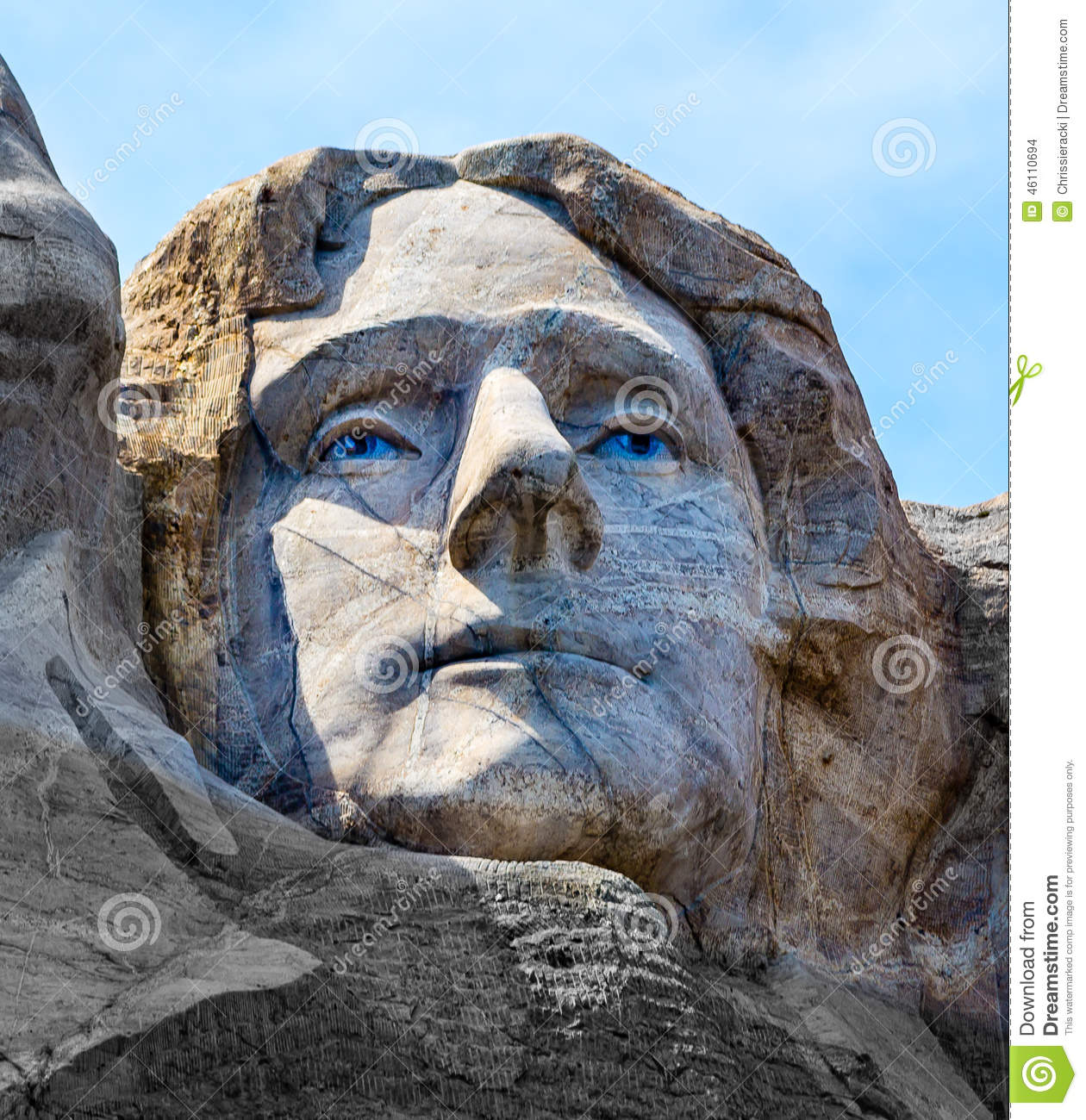 Thomas jefferson carved on mount rushmore stock photo