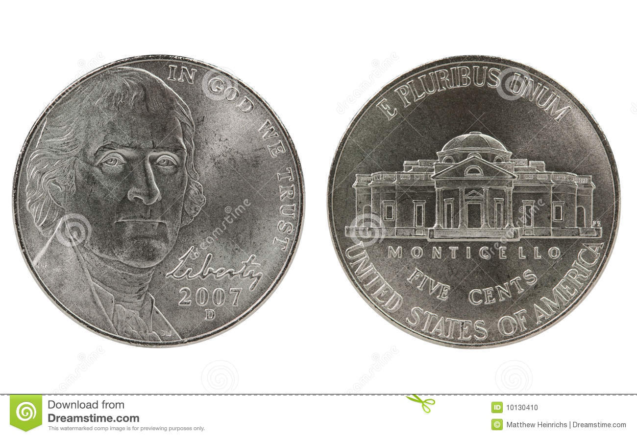 Thomas Jefferson Nickel Coin Stock Photo - Image: 10130410