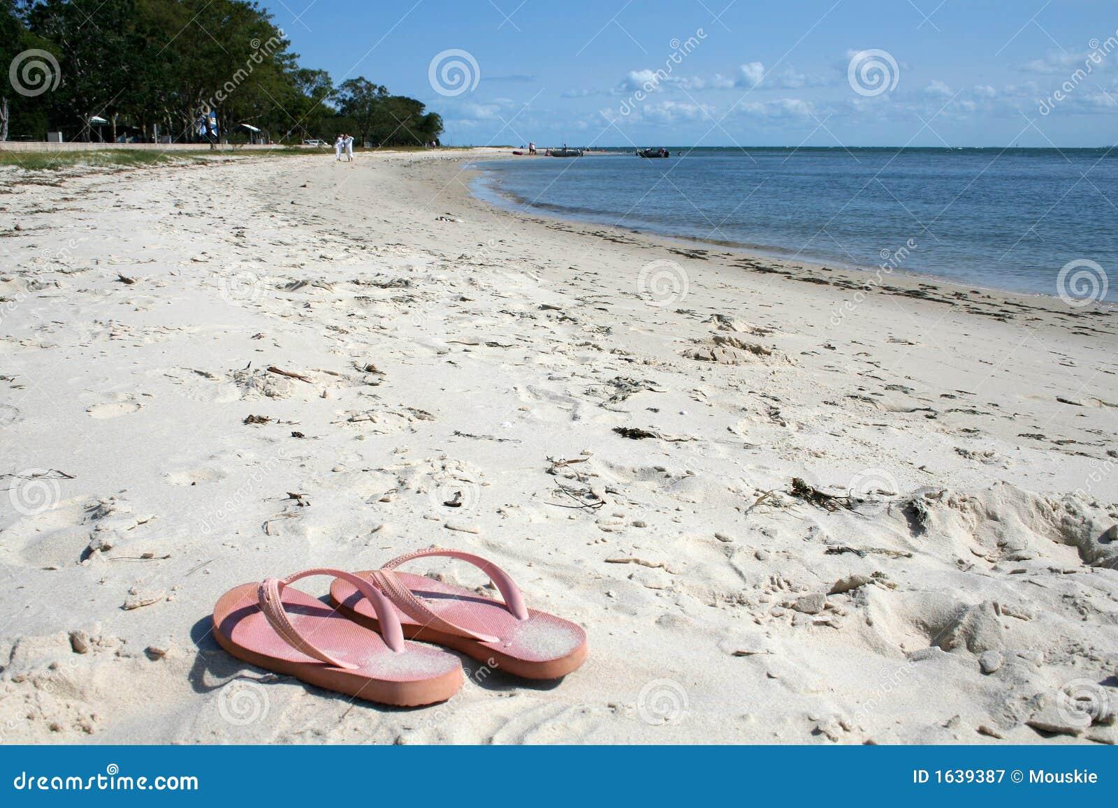 f26250e62ae599 Thongs on the Beach stock image. Image of sand