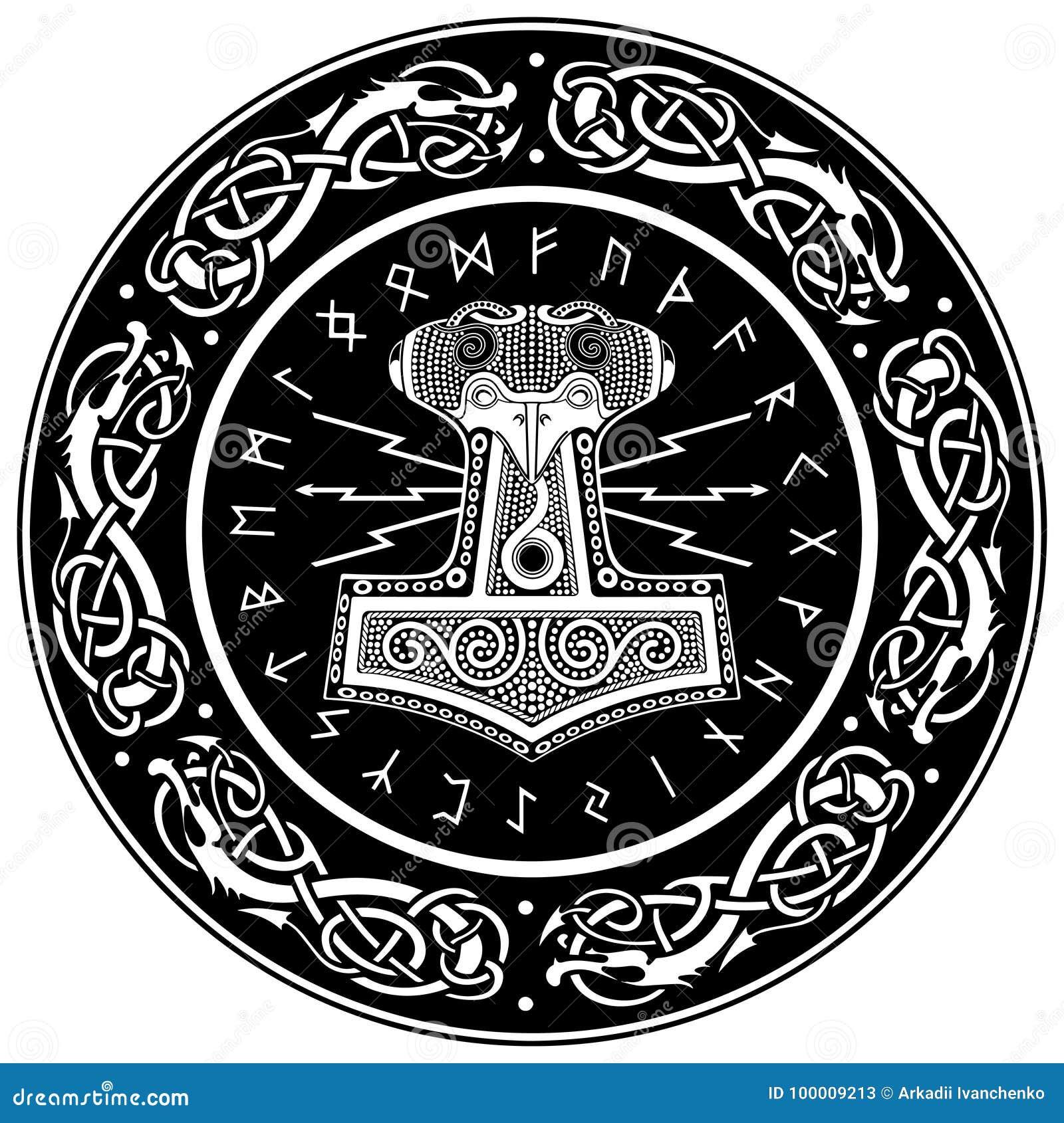 Vector Illustration Hammer: Mjollnir And The Scandinavian Ornament