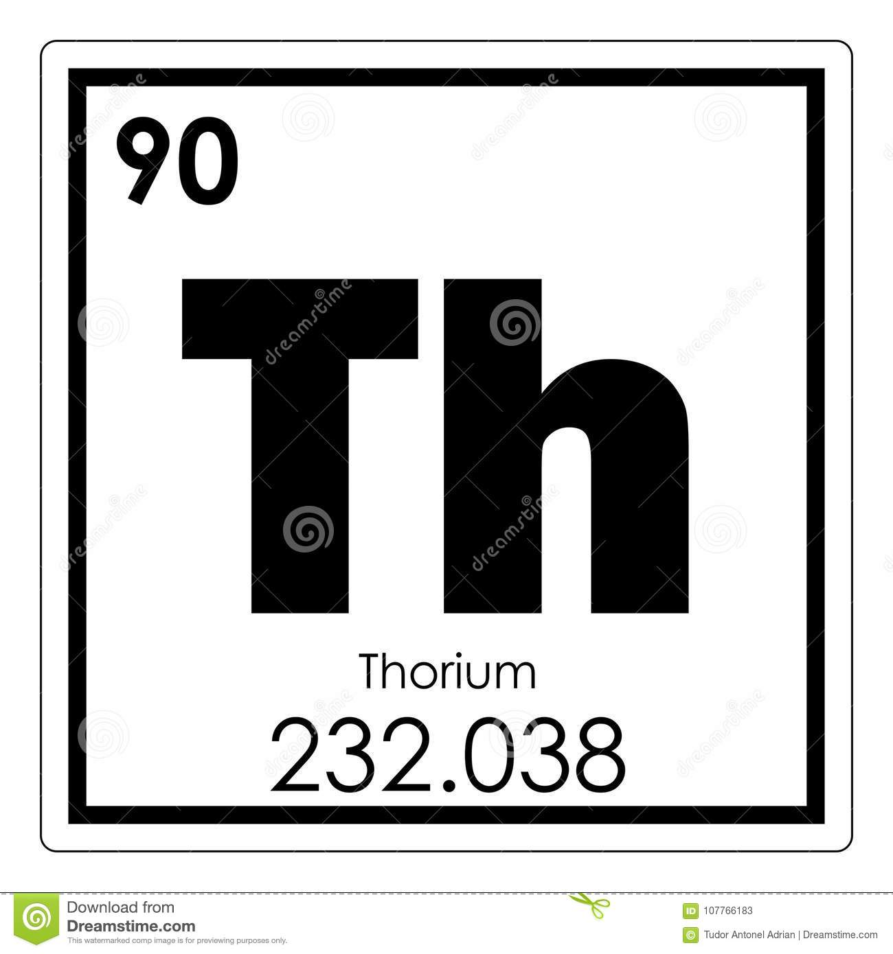 Thorium Chemical Element Stock Illustration Illustration Of