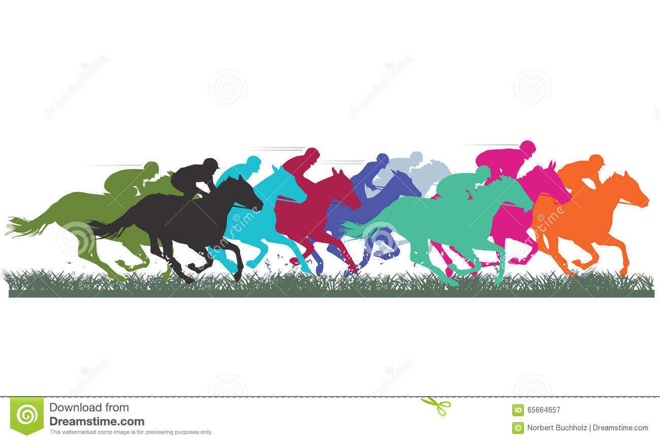 Colorful silhouettes of thoroughbred horses racing across grass.
