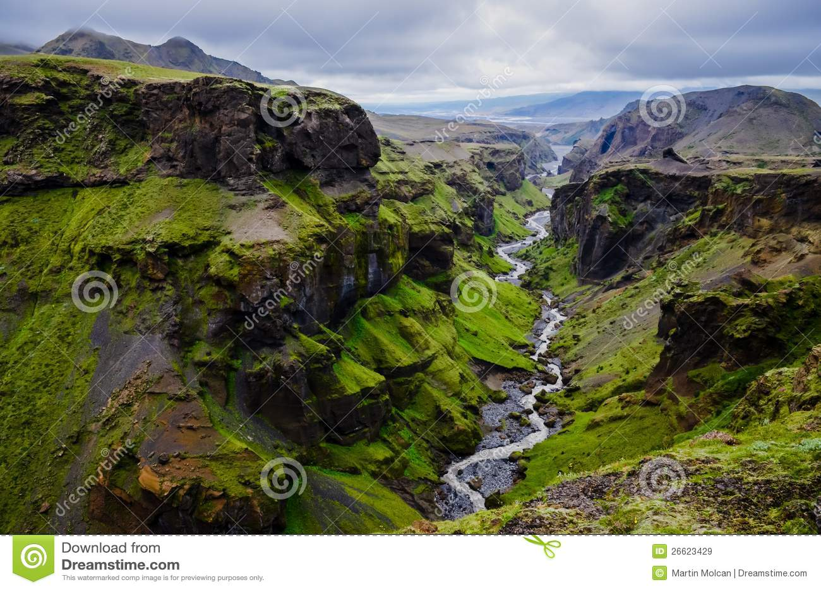 Thorsmork Mountains Canyon And River Near Skogar Royalty