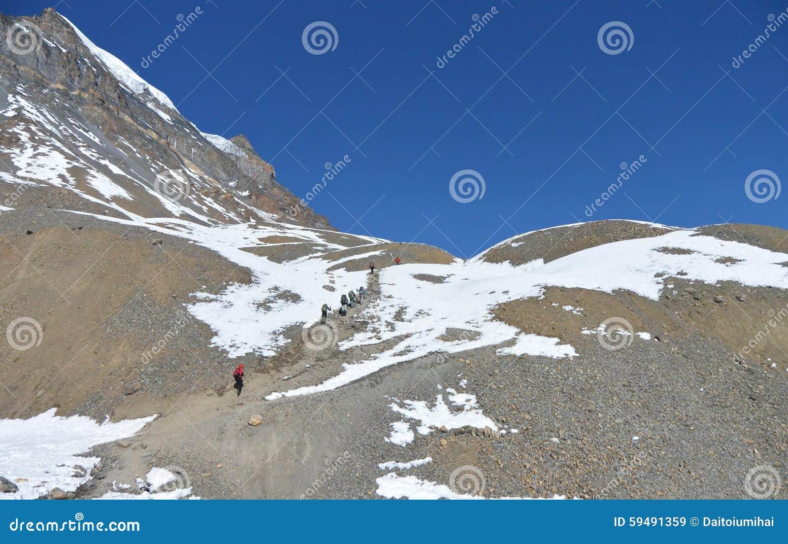 Thorung La pass to Daulagiri mountain. Annapurna trek, Himalaya mountains.