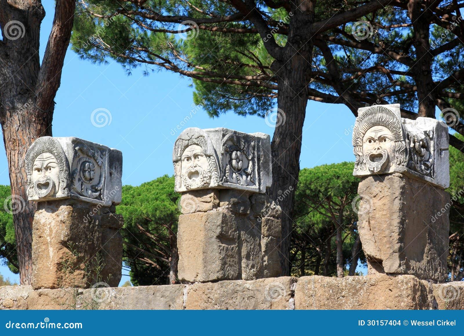 Decorative marble masks ostia antica italy stock images for Mr arredamenti ostia antica