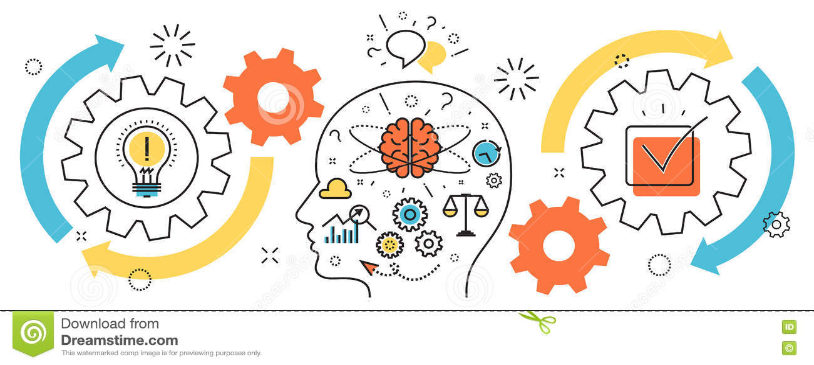 Thought process business startup idea mechanism into man brain