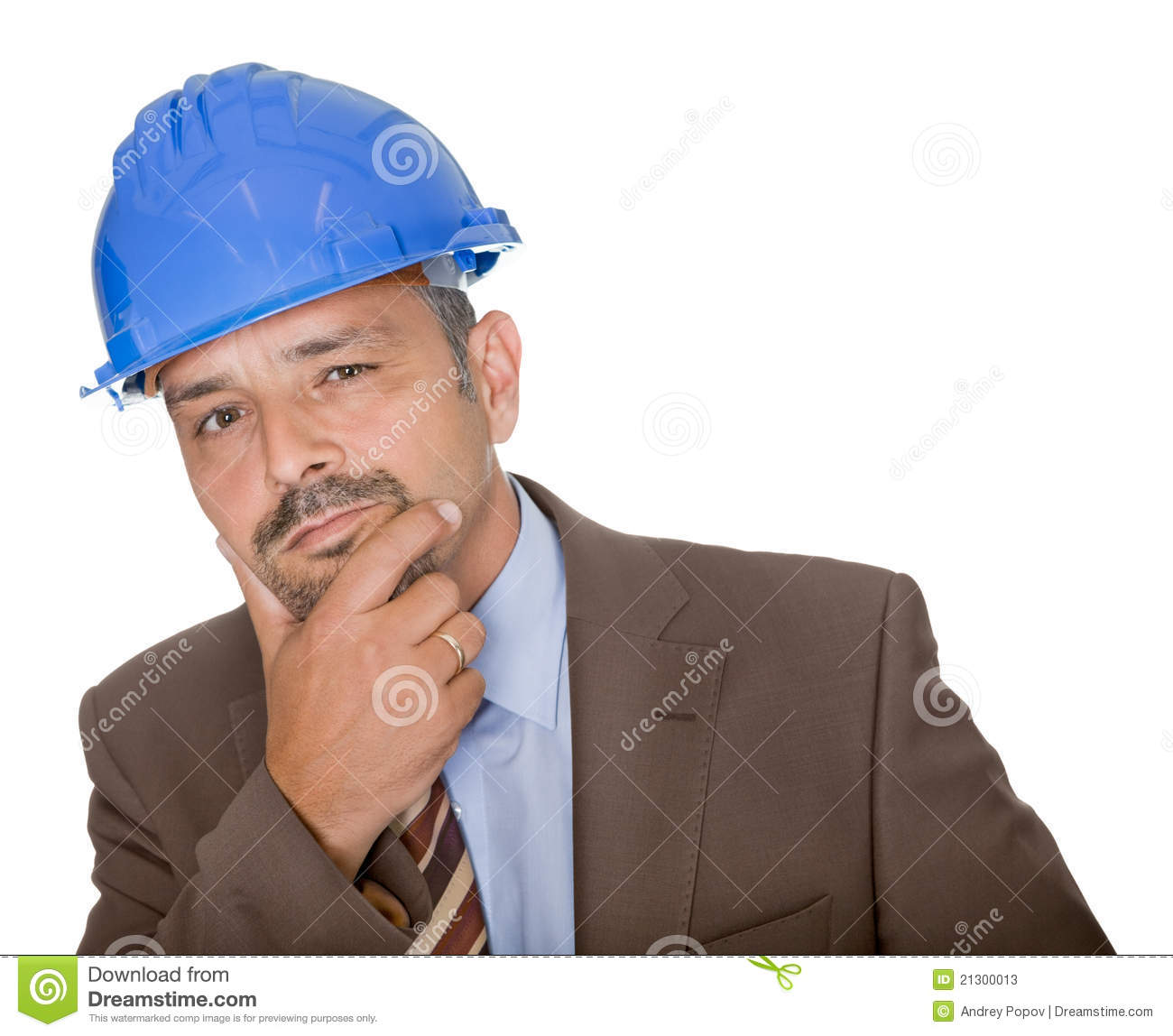 Thoughtful Architect Wearing A Hard Hat Stock Photos