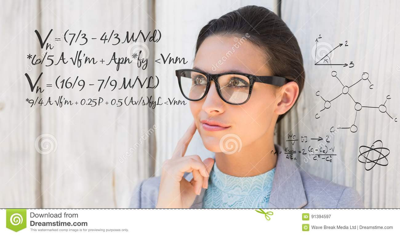 Thoughtful businesswoman with math equation