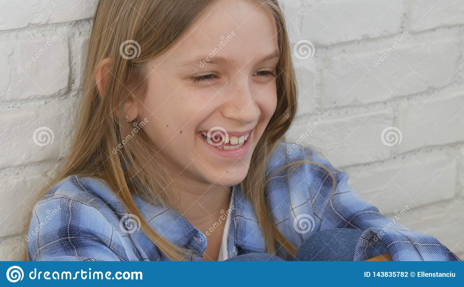 Thoughtful Child Portrait, Laughing Kid Face Looking in Camera Blonde Bored Girl