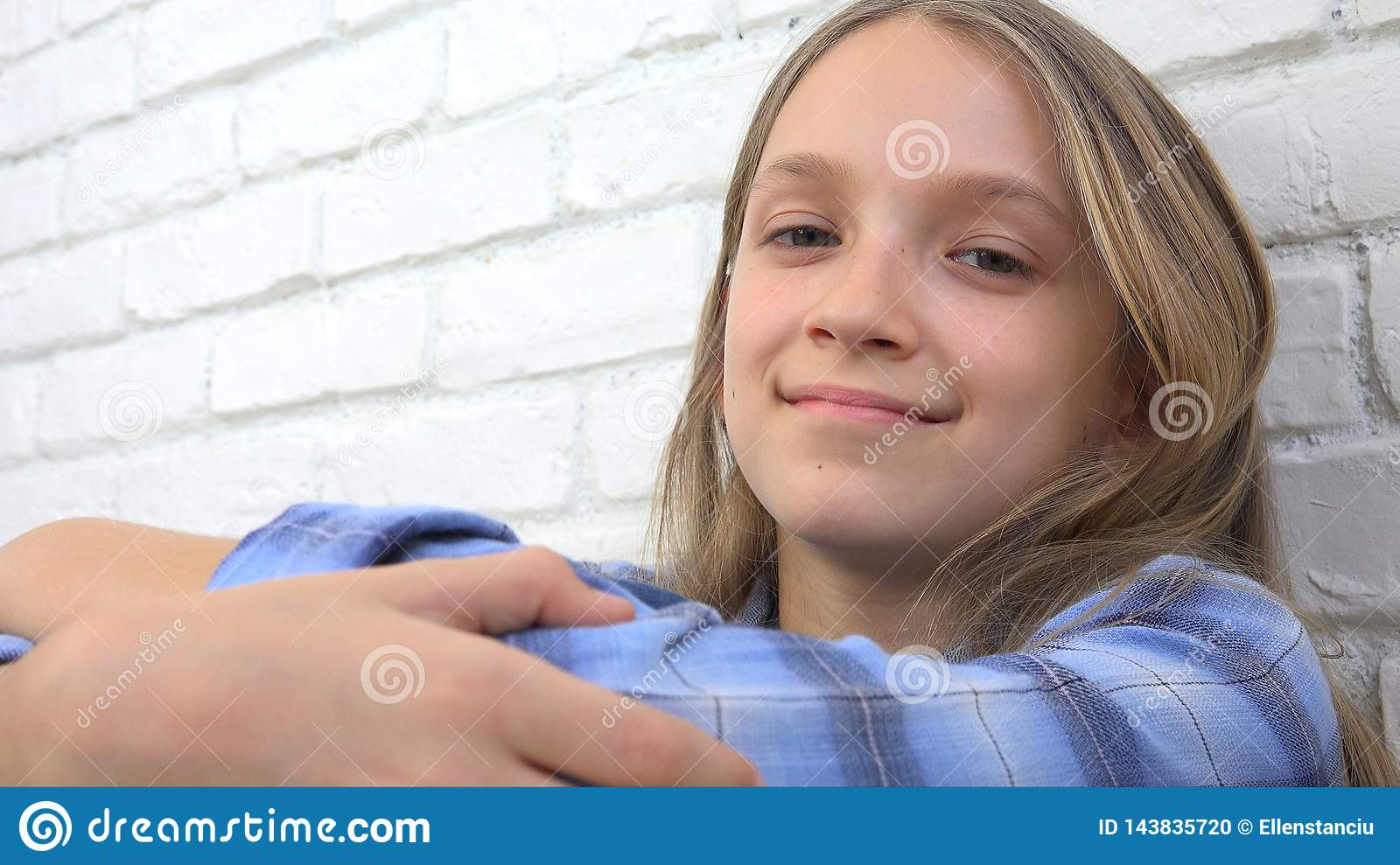 Thoughtful Child Portrait, Smiling Kid Face Looking in Camera Blonde Bored Girl