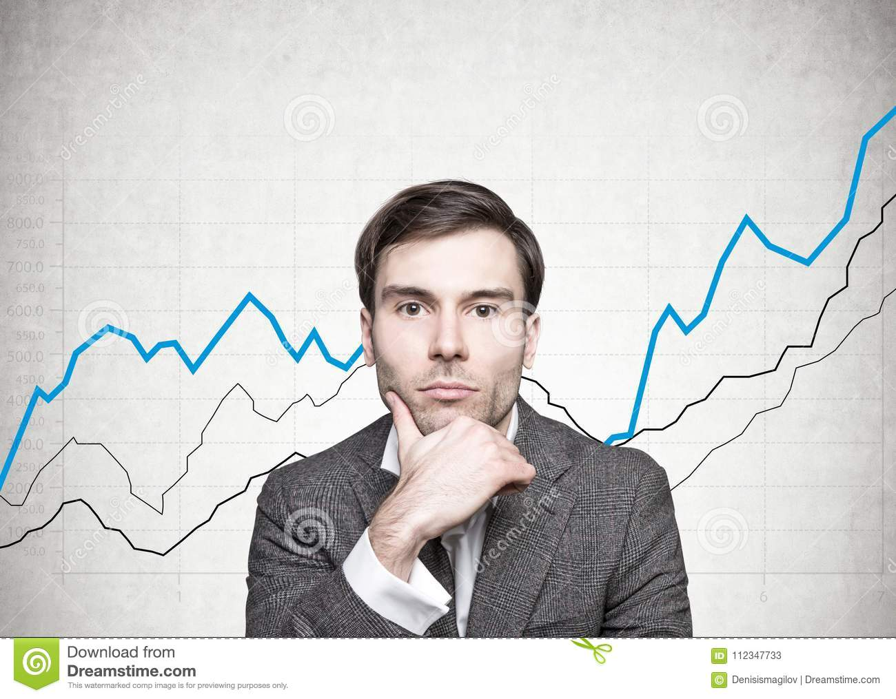 Thoughtful Dark Haired Businessman Graphs Stock Image Of Camera Diagrams