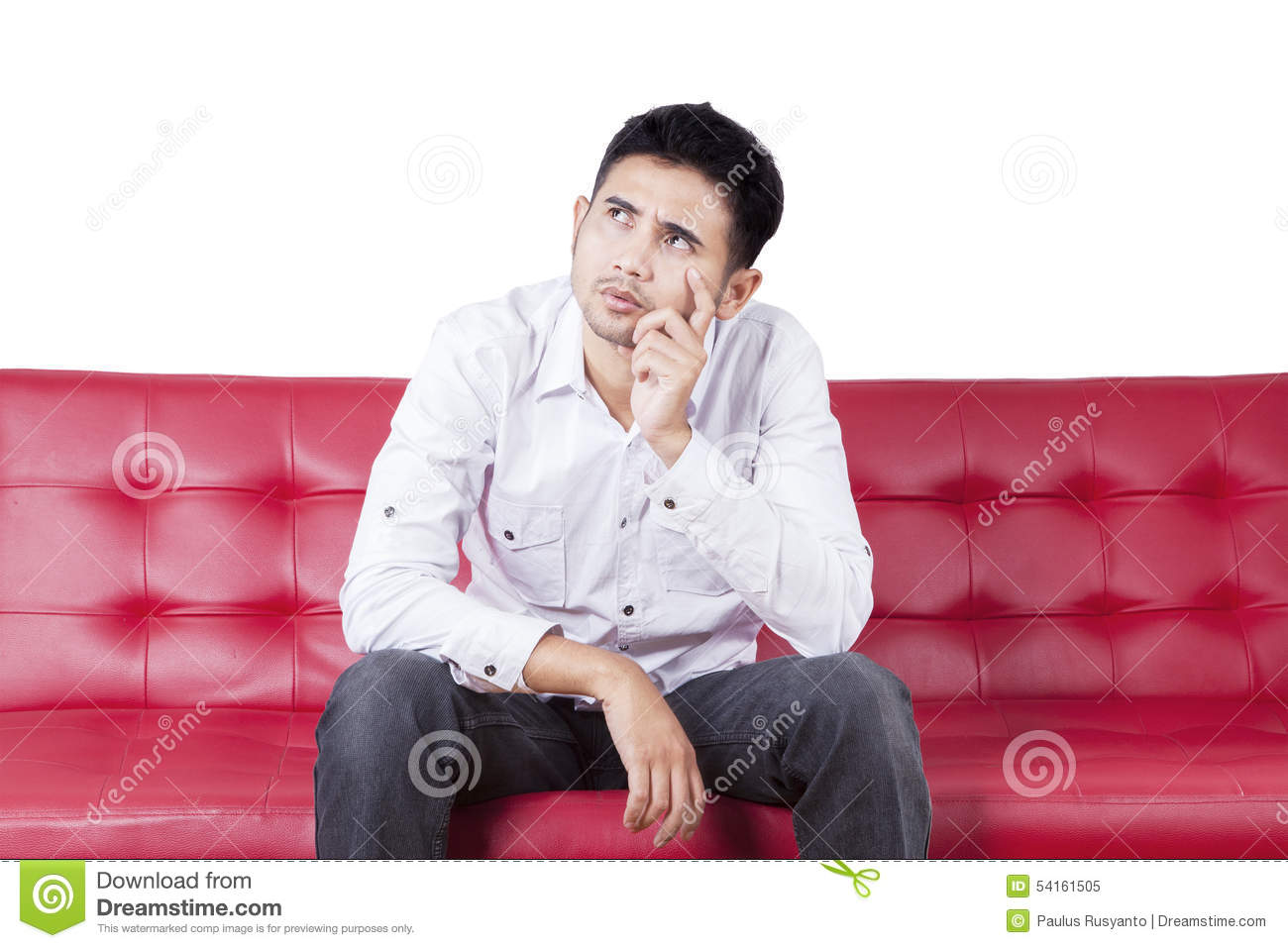 Thoughtful Person Sitting On Couch Stock Image - Image Of ...