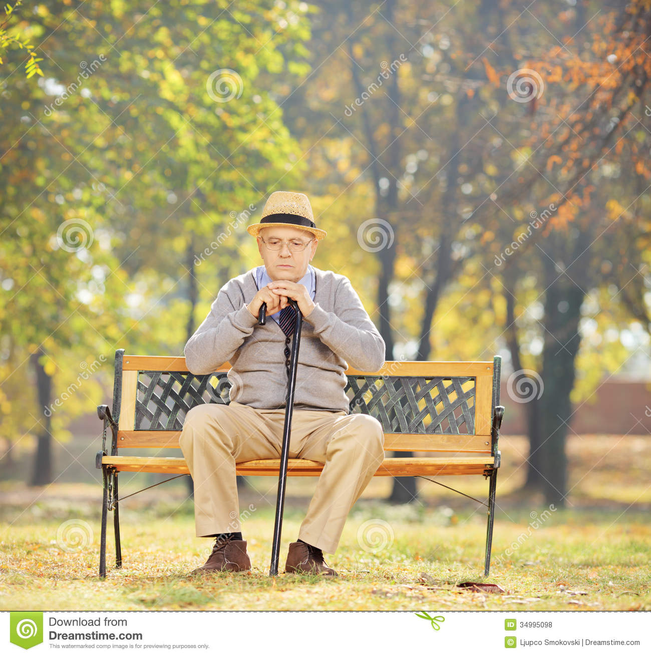 ... Sitting On Bench In A Park Royalty Free Stock Photos - Image: 34995098