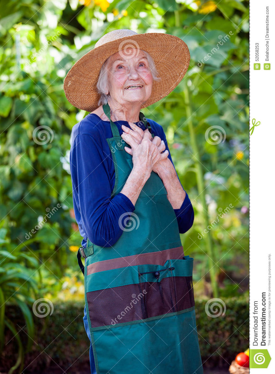 9c6265dbcc65e Thoughtful Senior Woman In Garden Hat And Apron Stock Image - Image ...