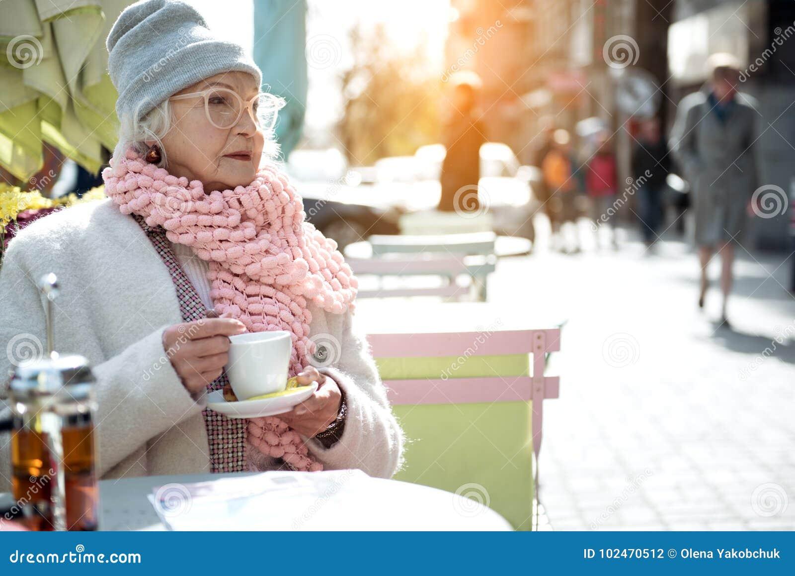 Pensive With Lady Outside Of Coffee Stock Mug Mature Sitting Photo ZkXiOPu