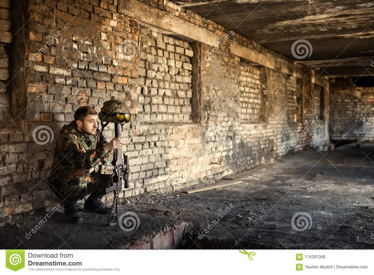 A thoughtful soldier, resting from a military operation