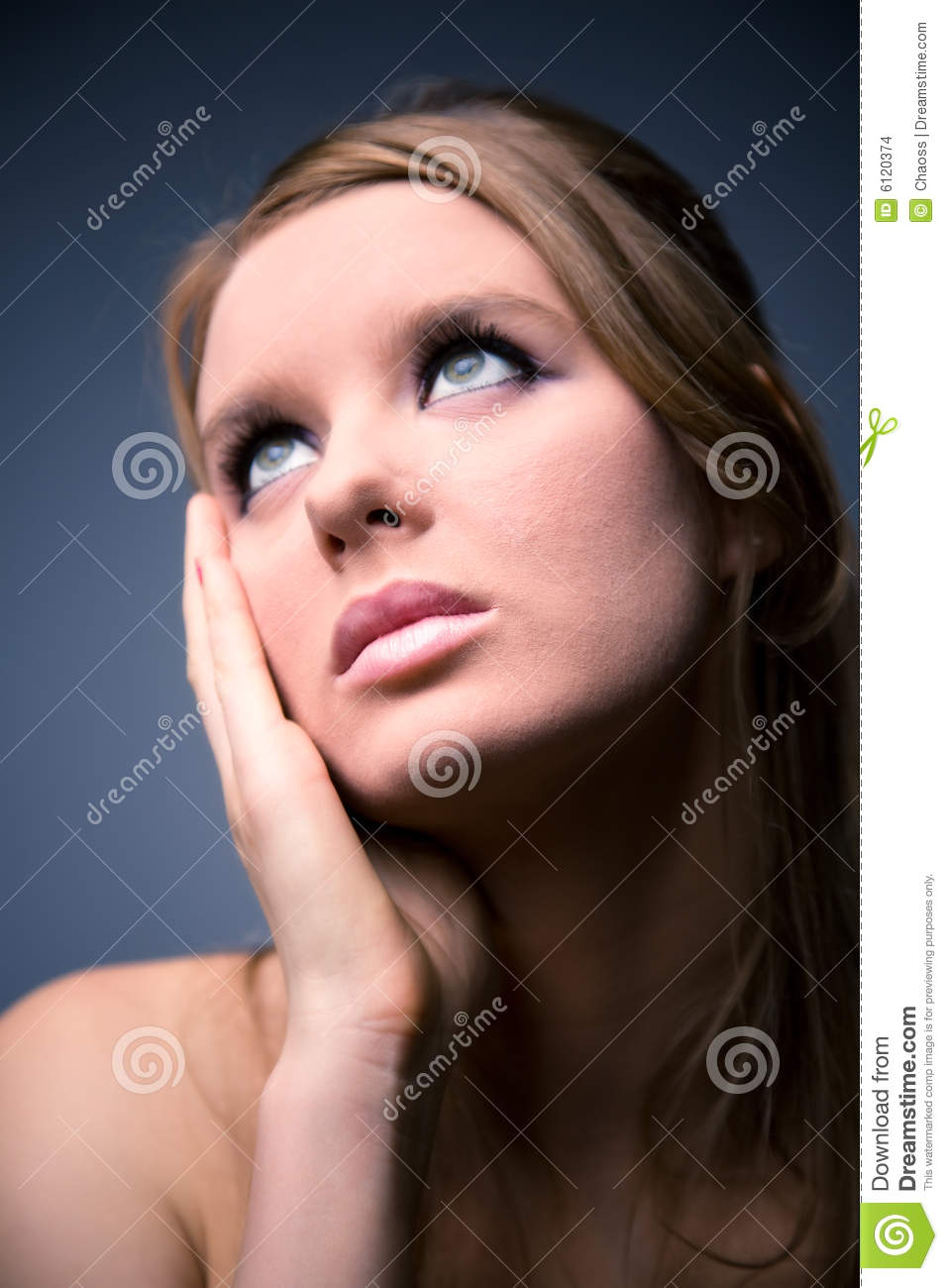 Thoughtful Woman Looking Up Stock Images Image 6120374