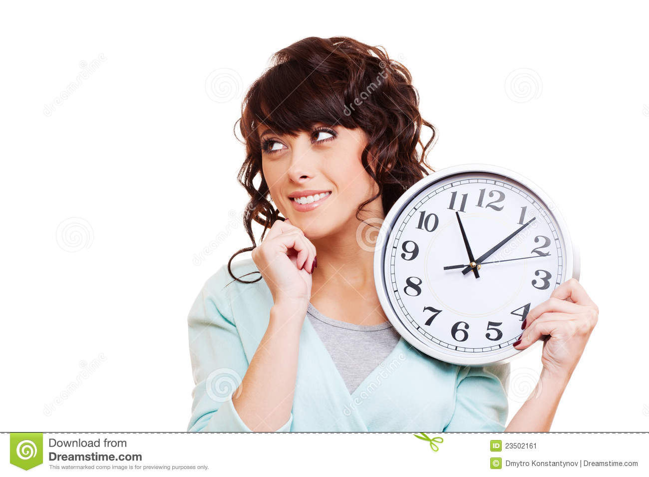 young business woman holding a white clock isolated over