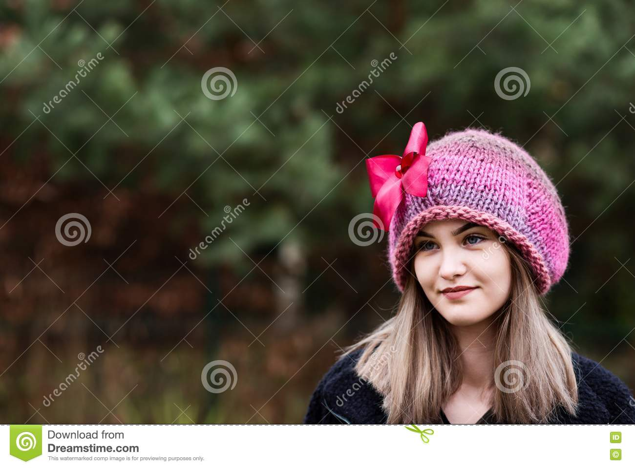 5f8fdef2a5b2 Thoughtful Young Woman In Woolen Cap Stock Image - Image of ...