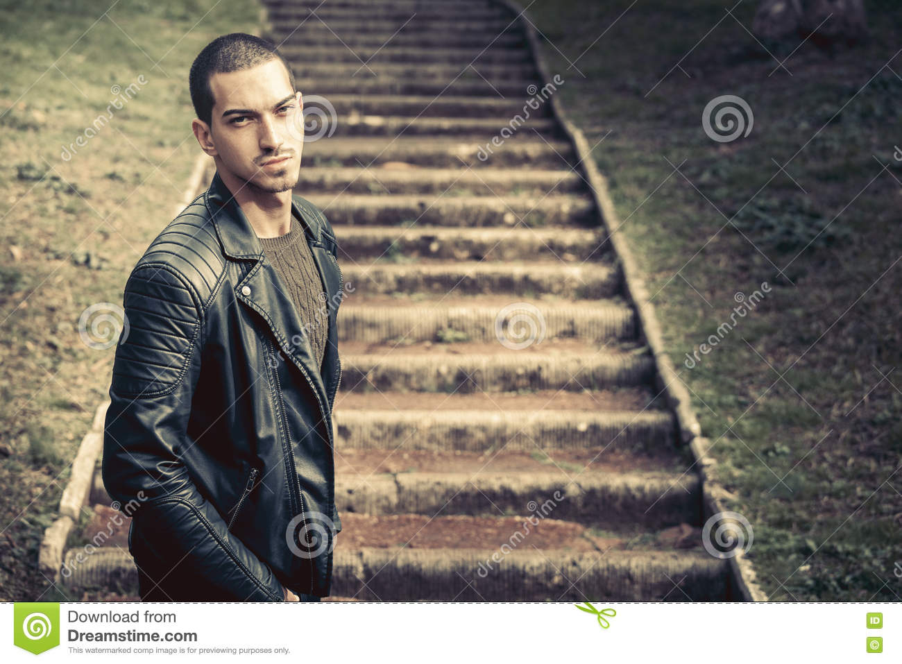 Thoughts, male anxiety. Model handsome man near steps.