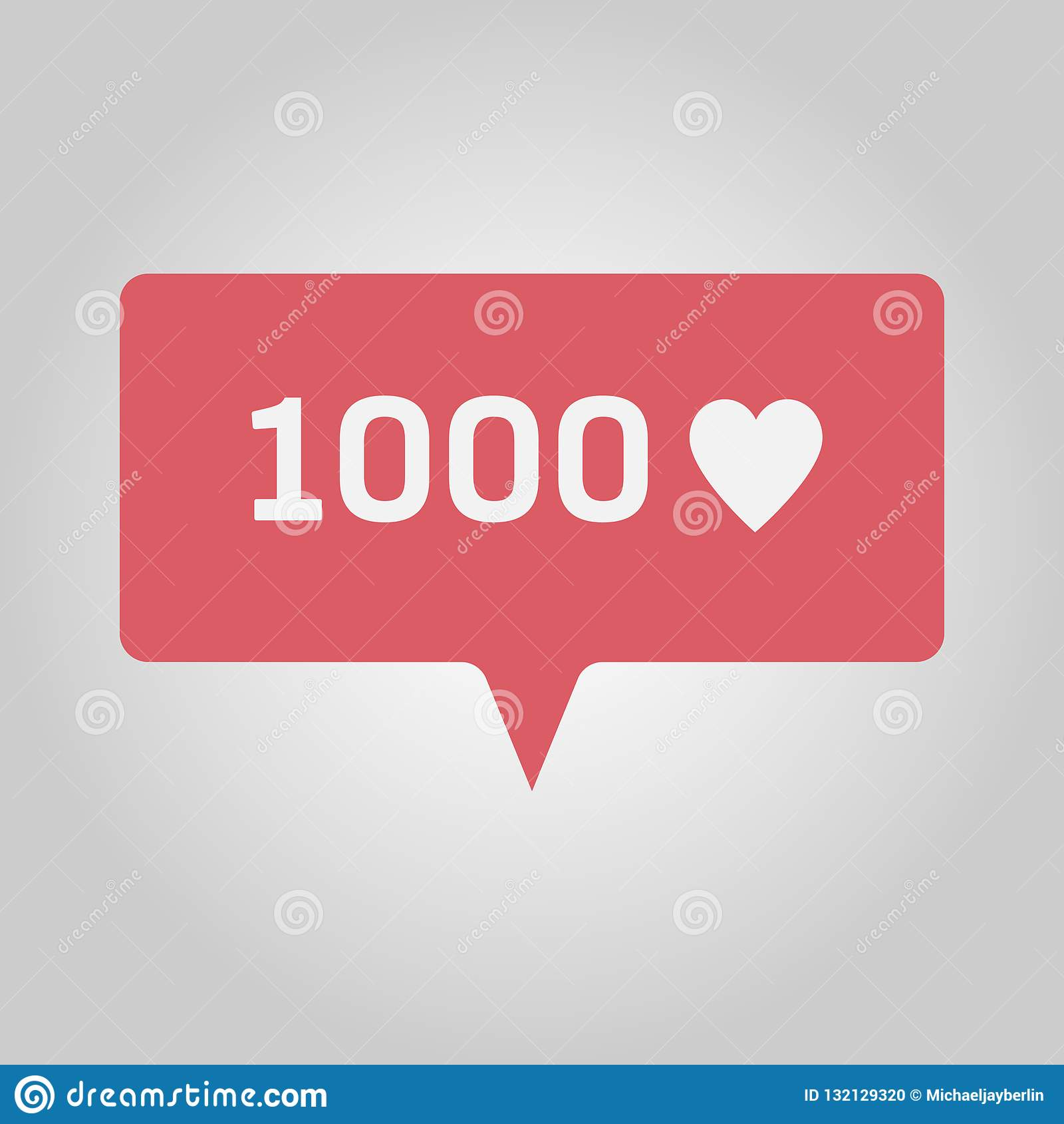 Thousand new love or likes, red social media popup notification