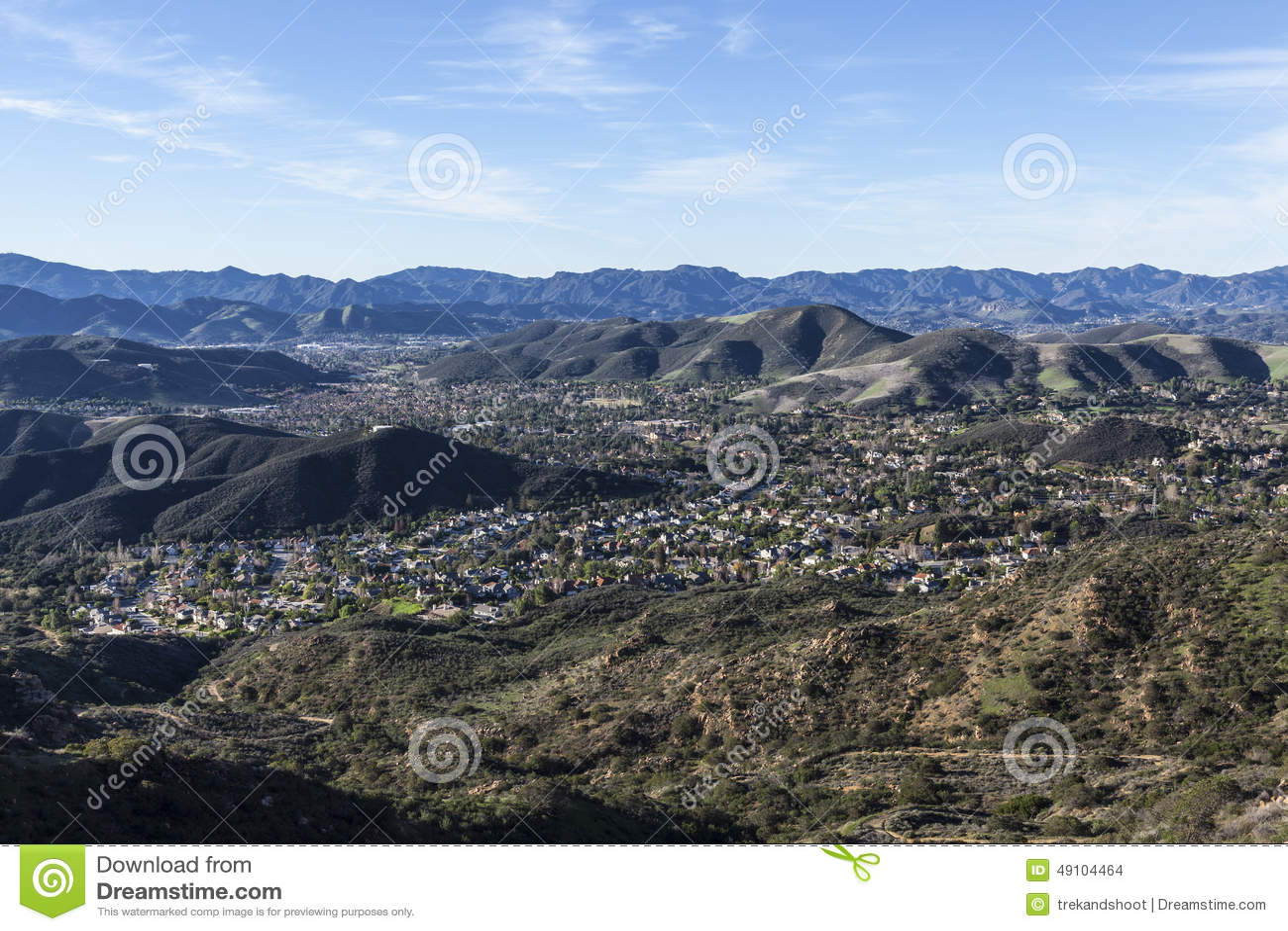 Thousand Oaks California Mountain Top View Stock Photo
