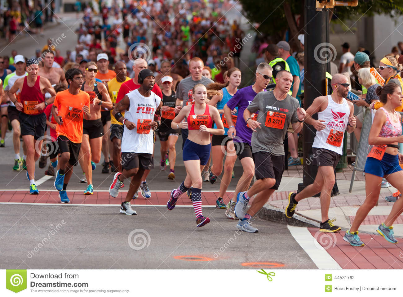 Thousands run in atlanta peachtree road race editorial for The peachtree