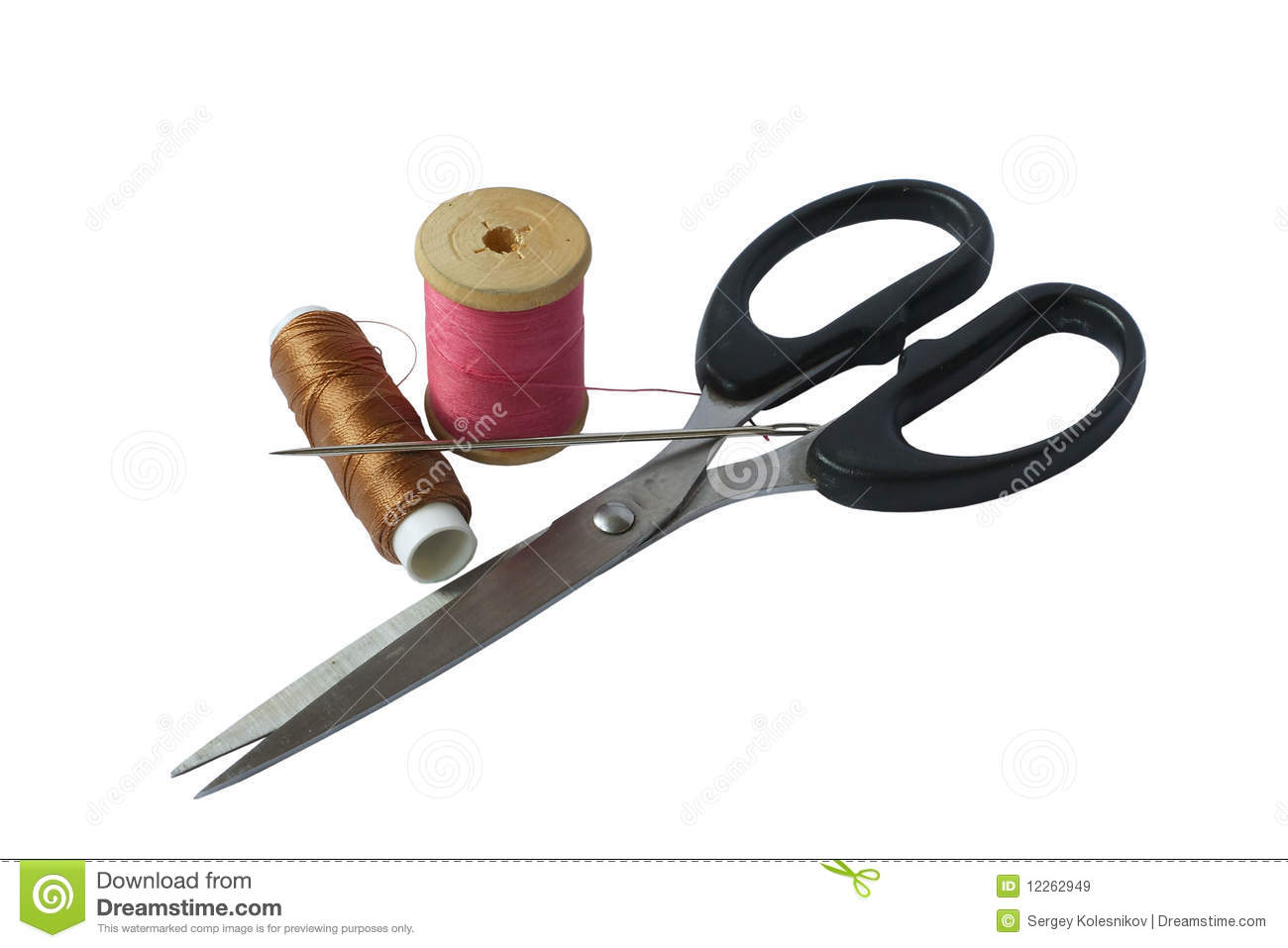 Thread, Needles And Scissors Royalty Free Stock Images - Image ...