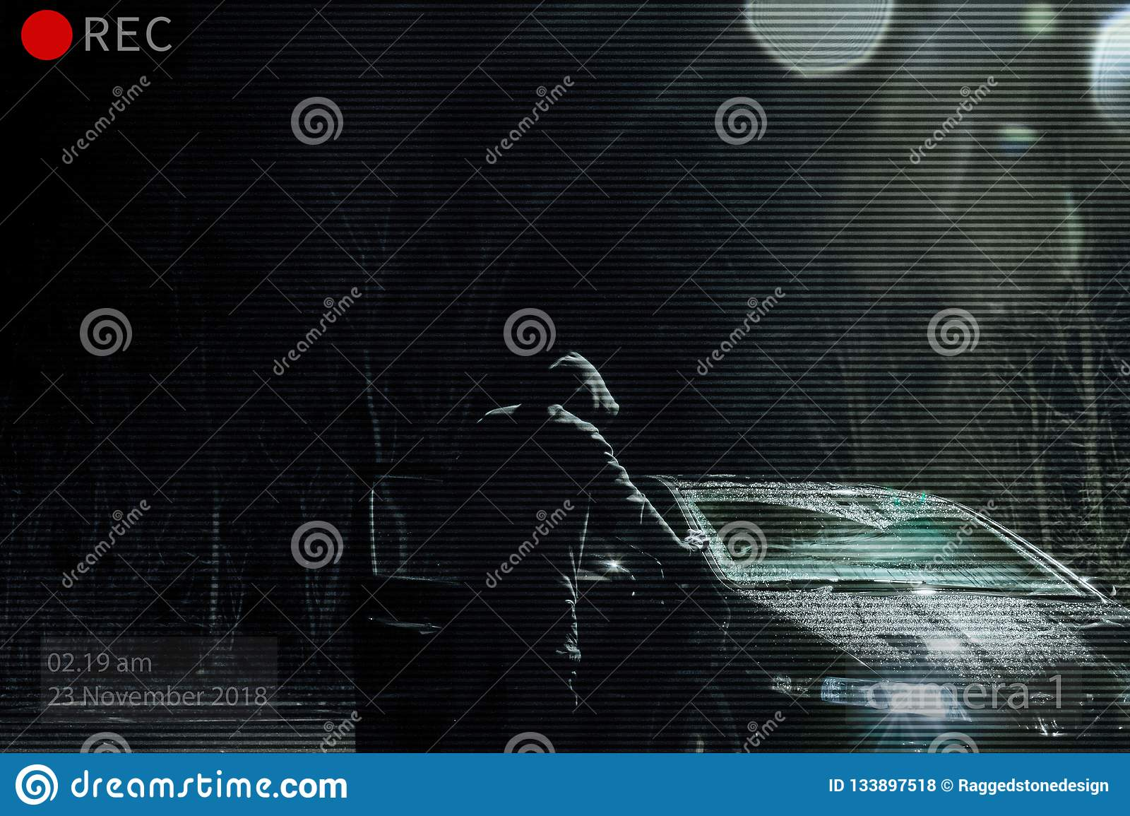 A Threatening Hooded Man Looking Into A Car At Night  Photoshop Edit